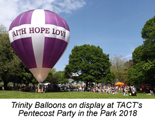 Trinity Ballloons on display at TACT's Party in the Park 2018